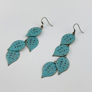 NWOT Turquoise Feather Earrings